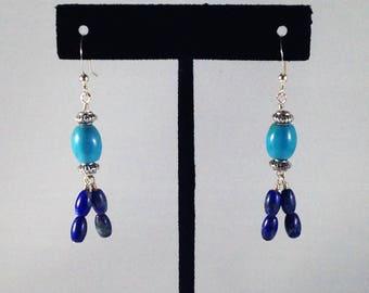 Turquoise and Lapis Lazuli Fringe Earrings