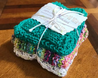 100% cotton knit dishcloth set