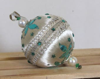 Silver with metalic Green leaves Vintage Hand embelished Christmas Tree ornament Handmade Old