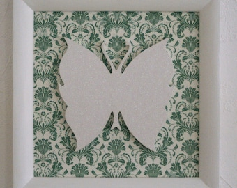"Picture frame ""Butterfly on green Arabesque"""