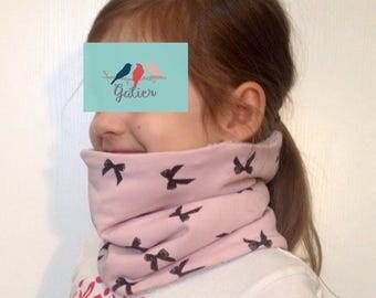 "Snood girl Sweatshirt ""bows"" pink and grey plush fabric"