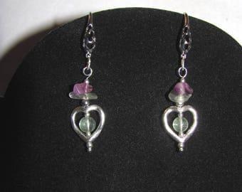Fluorites enclosed heart earrings