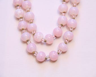 Vintage 1950s Pink Glass Beads Double Strand Necklace