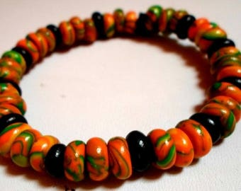 87 in colorful polymer clay Beads Bracelet