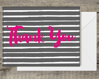 Set of 10 Colorful Thank You Cards.  Perfect for personal use, gift giving, Birthday and thank you. Pink, Yellow, Orange,Blue and Green
