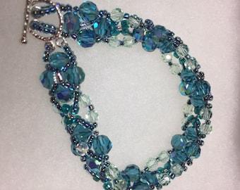 Czech Crystal Bracelet: Aqua and Light Green AB