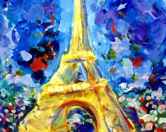 Eiffel Tower- colorful Van Gogh themed night in Paris