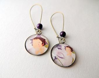 """Flower fairy"" violet green Cabochon earrings"