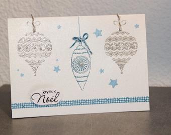 """iridescent """"glitter Christmas balls"""" greeting card 3D"""