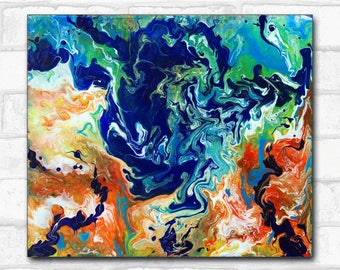 Rorschach orange and blue abstract painting