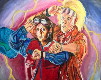 "Doc & Marty Back to the Future Painting 32"" x 40"""