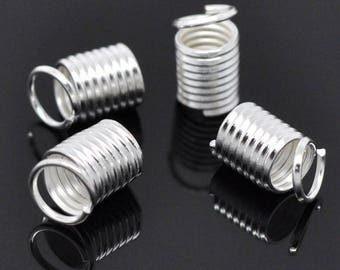 9x5mm - Pack 50 end caps for cord - Silver Spring