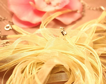 waxed cord and organza in shades of yellow/orange Ribbon necklace
