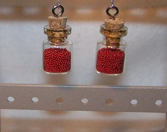 Earrings mini flask or flask MICRO beads Red