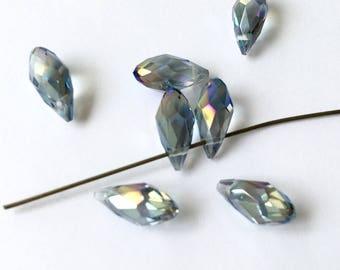 SWAROVSKI Crystal drops beads crystal clear AB 6 X 12 mm (31H) light blue