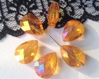 Swarovski Crystal Pearl drops faceted pink-orange, light AB, 2 pearls 17X14x10mm (65N)