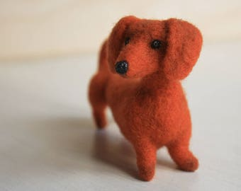 Needle felted Dachshund needle felted dog, needle felted animal, wool felt, needle felting, dog figurine, Dachshund figurine, cute