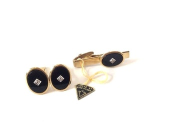 Vintage Squire Black Oval Gold Filled Cufflinks and Tie Clip