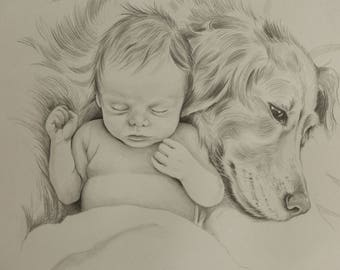 Large Child, pet, and family portraits by commission.