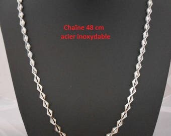 Necklace 48 cm silver color stainless steel chain