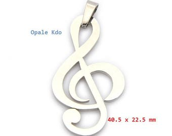 Pendant 4 cm stainless steel music clef