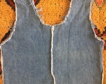 vintage denim crop top