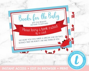 Nautical Baby Shower Books for the Baby Card Red Blue Crab Seahorse