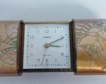 Antique, Koi painted working Semca travel alarm clock