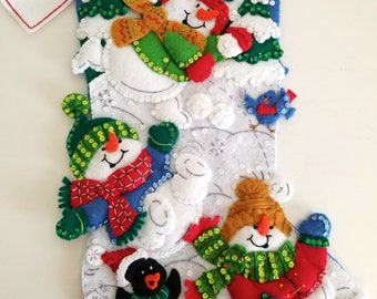 Christmas Stocking Bucilla Finished Snowman / Snow / Kids Stocking / Family Stocking