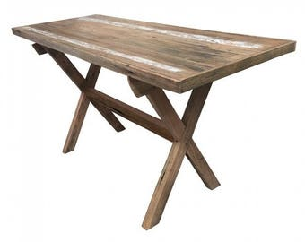Rustic Recycled Timber Industrial Table X Frame
