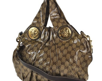580 GUCCI Authentic GG Crystal Hysteria 2way Hand Tote Bag Shoulder Strap Vintage Charm Pattern Brown PVC Leather Italy
