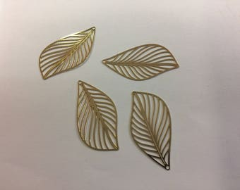 prints 10 leaves 42x22mm Golden jewellery designs
