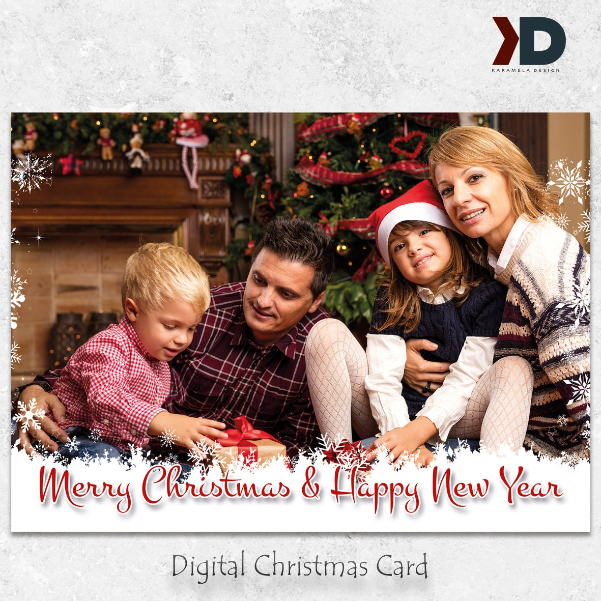 Happy holidays digital card printable christmas greeting card happy holidays digital card printable christmas greeting card card with your family photo kristyandbryce Image collections
