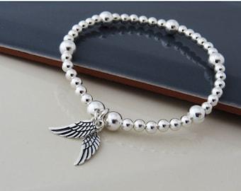 Sterling Silver Angel Wing Bracelet, Wing Bracelet, Silver Bead Charm Bracelet, Angel Wing Stacking Bracelet