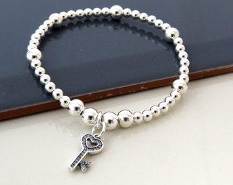 Silver Key Bracelet, Key Charm Bracelet, Sterling Silver Key Jewelry, silver Ball Bracelet, Gift For Her, 18 birthday gift, 21 birthday gift