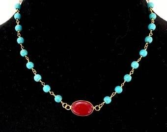 "17"" Ruby Jade Pendant Necklace"