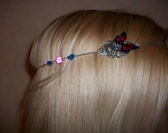 Heandband, headband, headband, pink and blue butterfly.