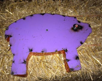 Recycled Metal Pig Sign