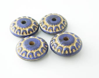 set 4 (l282) x 17mm purple rondelle bead