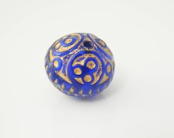 2 x 17mm (l1228) Blue Gold rondelle bead