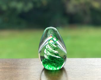 Green coloured glass teardrop paper weight 7cm
