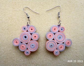 Quilling earrings circles pink and purple