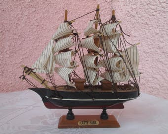 Decorative Ship, Vintage Model Ship for Nautical Decor,Vintage Wooden Model Ship Cutty Sark,Handmade Decorative Ship,Vintage Home decoration