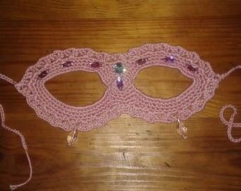 Dusty rose crochet mask