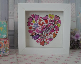 HEART FRAME, PINKS Wall Hanging, Valentine, Decoden Box Frame