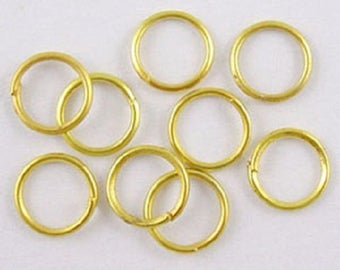 set of 50 simple jump rings open, gold plated 6mm