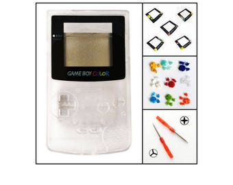 Nintendo Game Boy Color GBC Replacement Housing Shell Screen Clear Pick Your Lens & BUTTONS!
