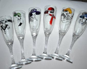 """6 flûtes à champagne """"twistées""""peintes """"Femmes des années folles aux chapeaux multicolores"""" , peinture sur verre Opale Isis, Esy"""