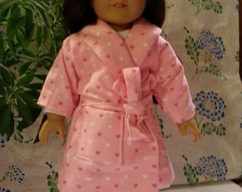 Red White and Pink Hearst on a Pink Background Pajama and Robe Set