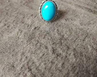 Ring adjustable semi-precious and natural stone, turquoise nickel free